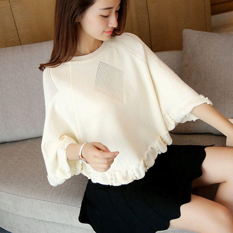韩版套头宽松镂空针织衫薄款短袖蝙蝠衫罩衫网衫空调衫女装包邮