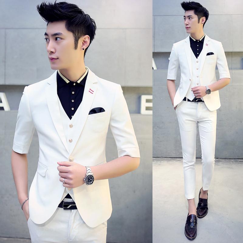 男士短袖短裤套装 2016夏新款韩版修身小西装潮个性休闲薄款西服