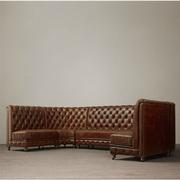 Mỹ retro nghệ thuật cũ da khóa cao góc trở lại chủ thẻ giải trí châu Âu thanh bar ghế sofa da KTV