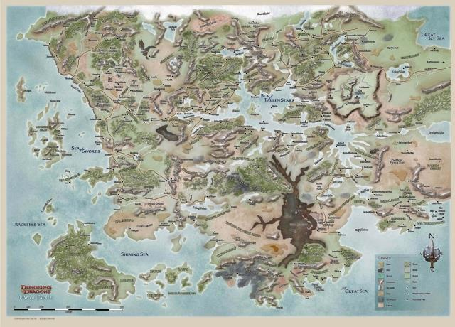 USD DND Dungeons And Dragons Setting MapPhelan World Map - A3 printable world map