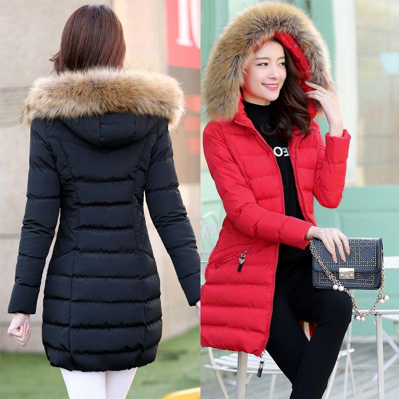 2015韩国中长款羽绒棉服学生冬天过膝棉衣女外套加厚防寒服棉袄子