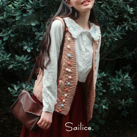森女无袖针织粗棒针毛衣毛线坎肩马甲马夹背心开衫