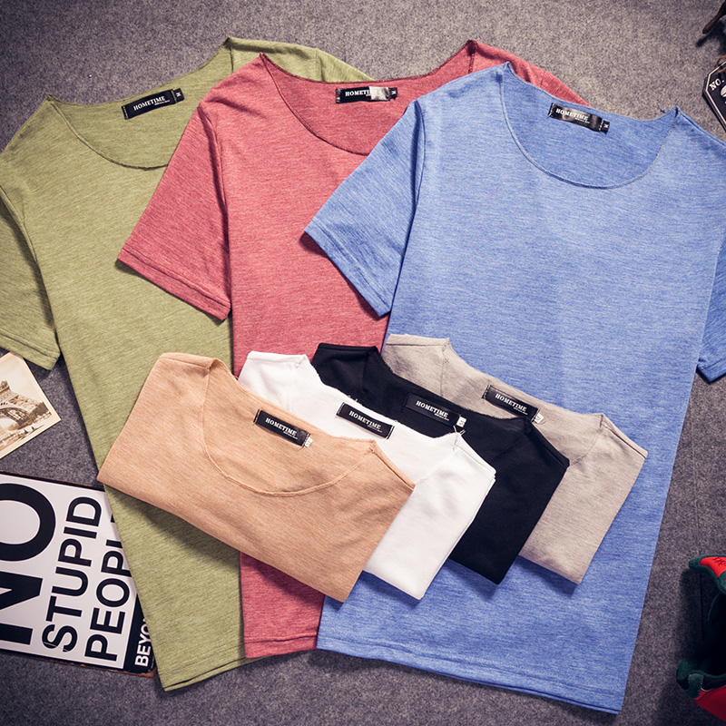 夏装短袖T恤男士纯色圆领日系韩版宽松学生体恤衫半袖夏季上衣服