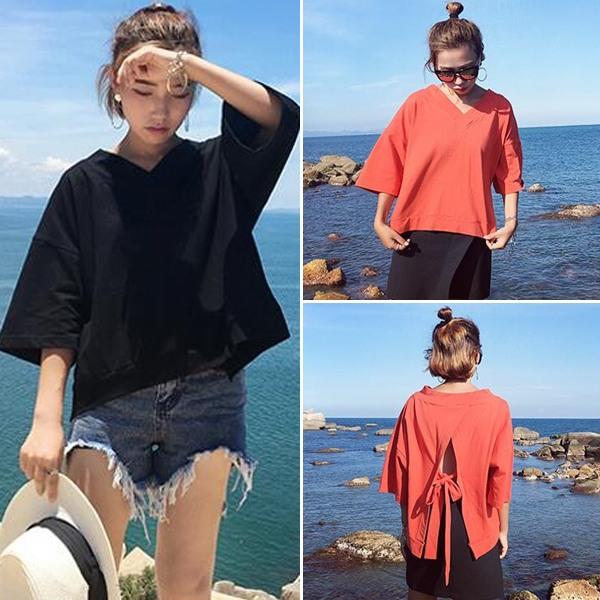 夏装女装韩版交叉领口小性感露肩一字领宽松短袖T恤学生中袖上衣