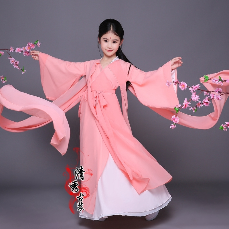 Chinese Folk Dance Dress Children's costume costumes girls Tang Dynasty dresses Fairy Princess chaise tails Cos costumes