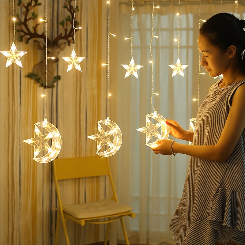 Led Lights Flashing String Stars Moon Curtain Room Bedroom Network Red Background Decorative