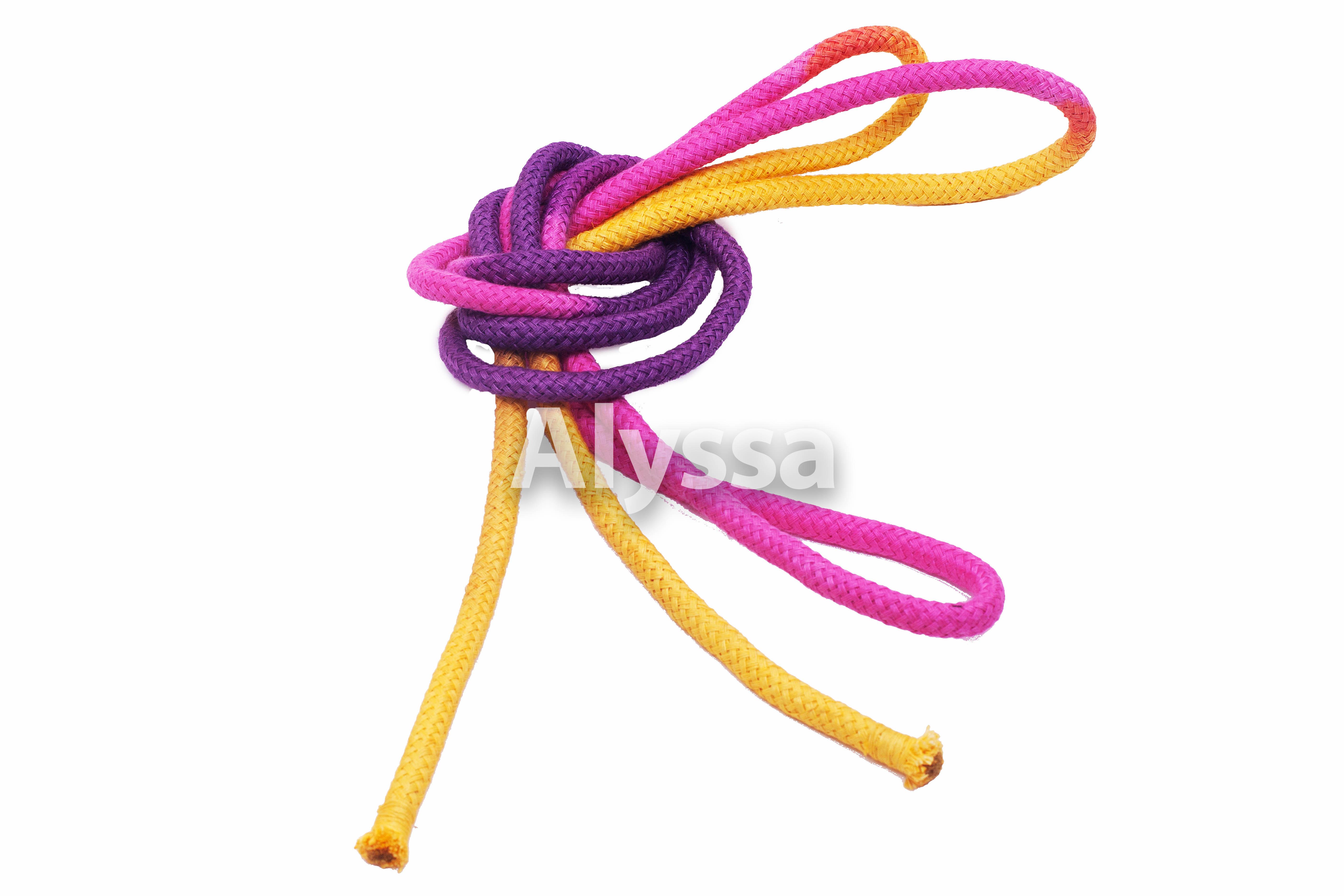 Alyssa профессиональная художественная гимнастика веревка / высокая Сортовая конопля / многоцветный желто-пурпурный порошок