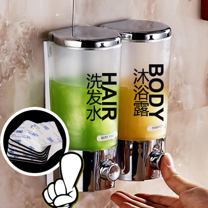 Ванная комната отели вручную двойной дозатор жидкого мыла гость дом настенный стиль гель для душа одноканальный глава для мыло устройство мойте руки бутылированный