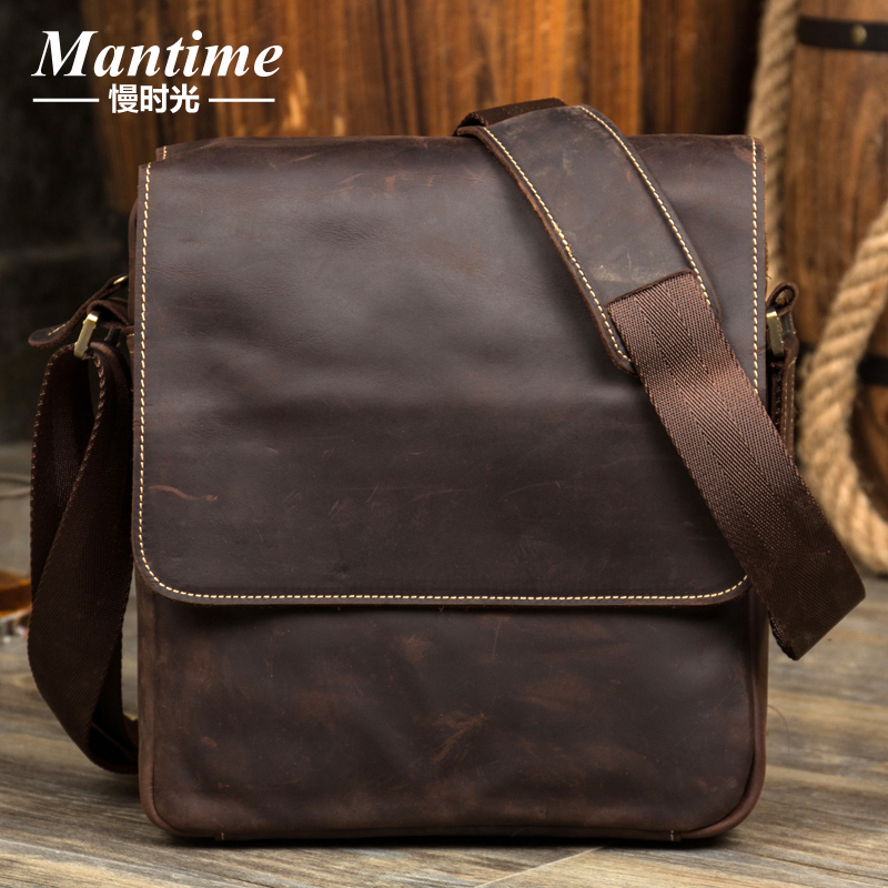 b939fc96fc73 First layer of leather shoulder bag Crazy Horse leather business casual  leather men s bag vertical section