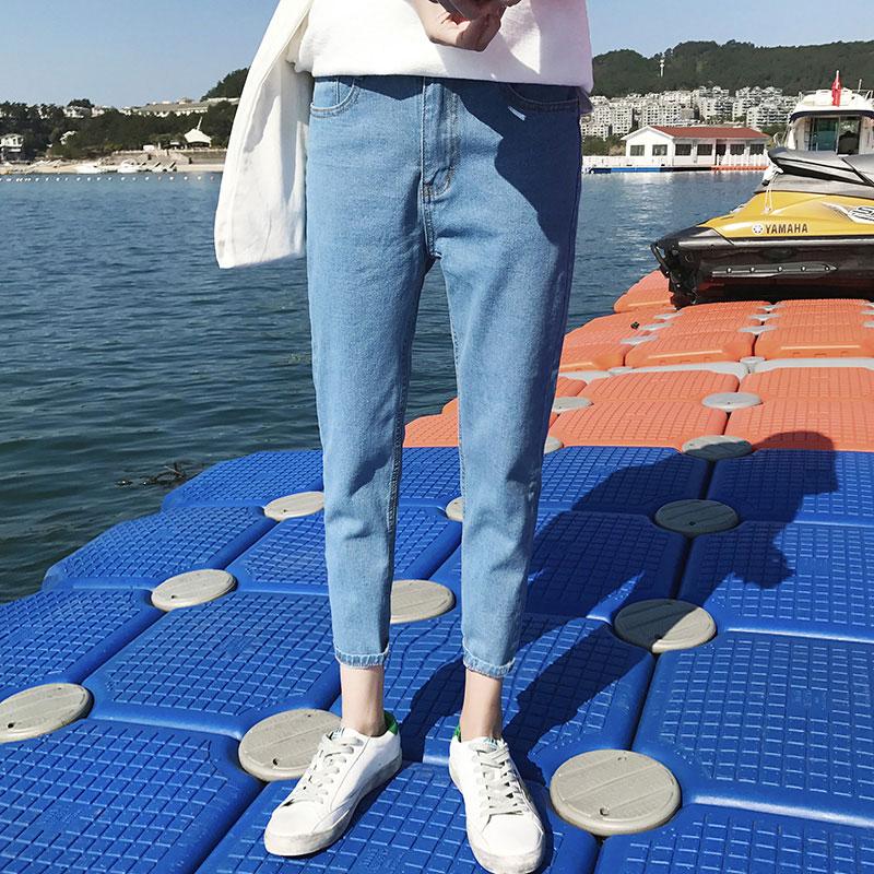 裤子男牛仔裤小脚裤休闲裤男士九分裤潮流修身韩版学生直筒浅蓝色