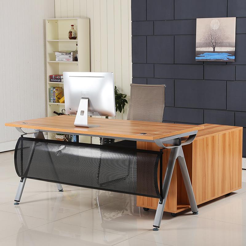 Mới đơn giản nội thất văn phòng ông chủ bàn đơn với tủ phụ Taipan bàn thép khung máy tính bàn tiếp tân bàn