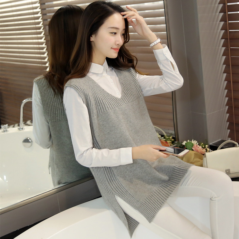 2018 mùa xuân và mùa thu mới kích thước lớn áo len nữ vest jacket phần dài lỏng V-Cổ áo len vest vest nữ
