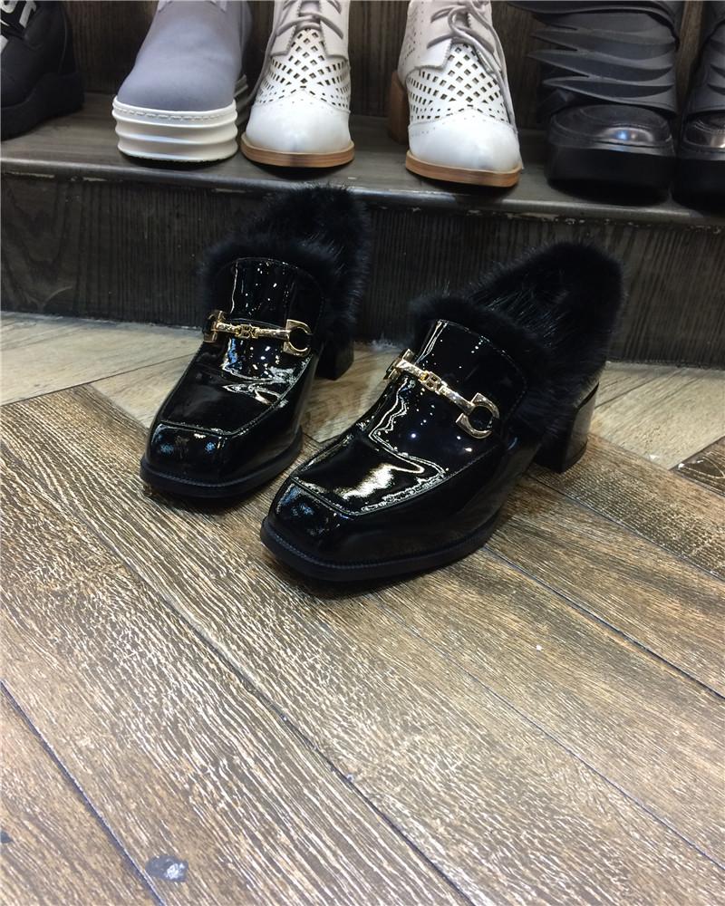 欧洲站2016春季新款欧货女鞋真皮拼水貂毛低跟平底鞋乐魔浅口单鞋