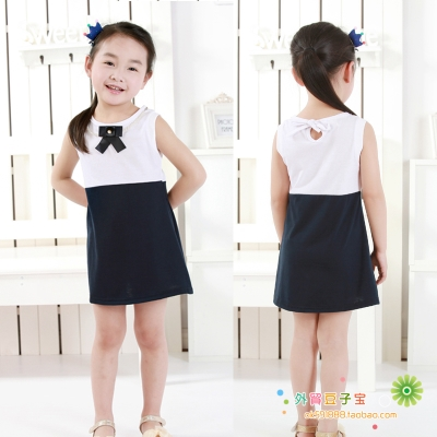 Children's clothing wholesale factory direct summer new girl skirts delicate bow tie two-color stitching vest dress