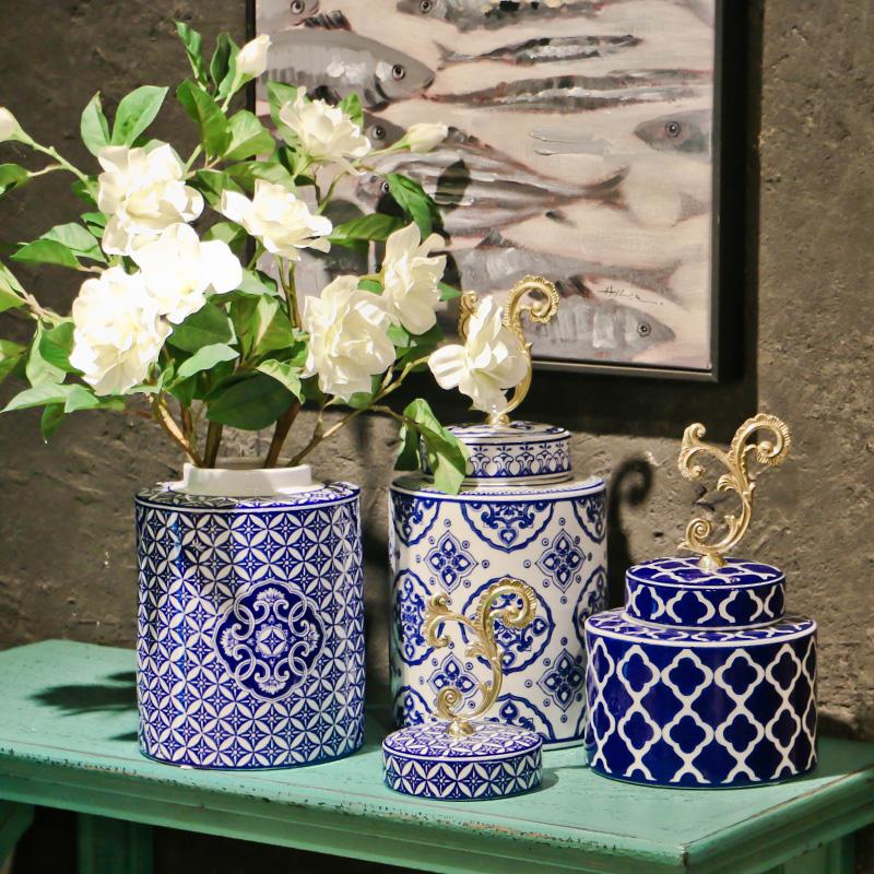 欧式古典青花瓷圆罐新中式电视柜陶瓷家居v陶瓷软装饰品餐桌摆件