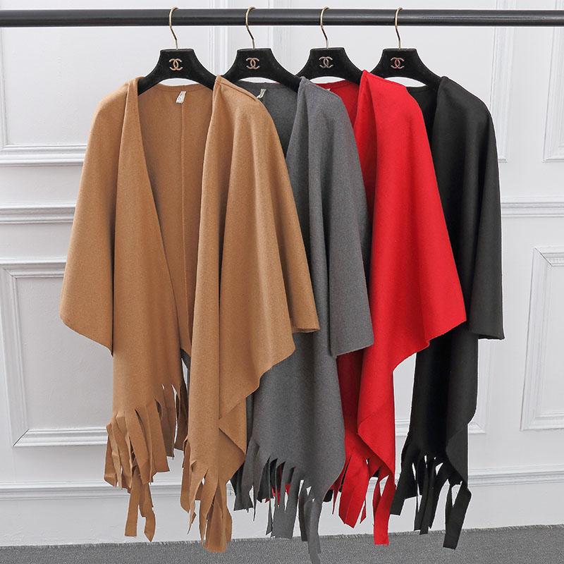 秋冬季新款黑白格子流苏羊绒羊毛呢大衣短款呢子外套斗篷披肩披风