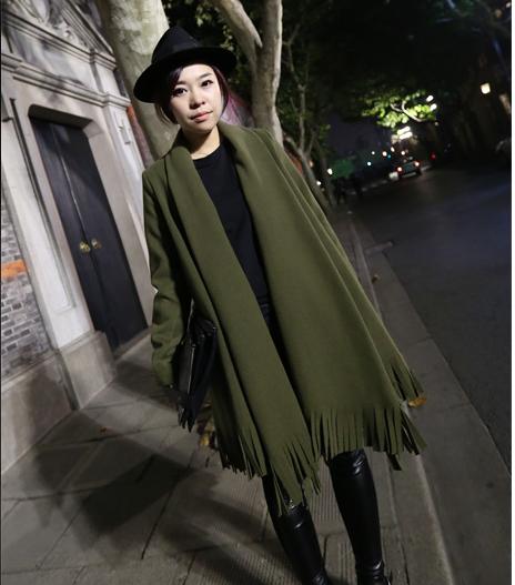 韩国秋流苏上衣双面穿貂绒大衣长袖斗篷毛衣女披肩中长款毛呢外套