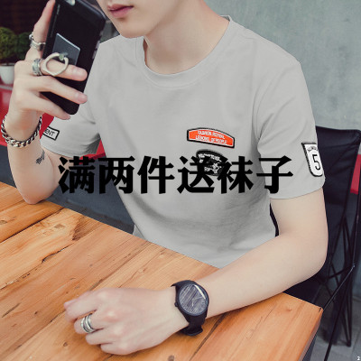Men's summer short-sleeved t-shirt Korean version of the half-sleeved T-shirt round neck tide students trend Slim clothes Men