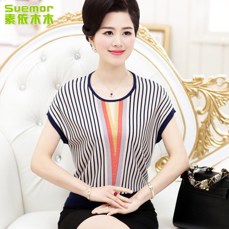 坤彩2016中老年妈妈装夏装短袖T恤针织衫40-50岁中年大码女装上衣
