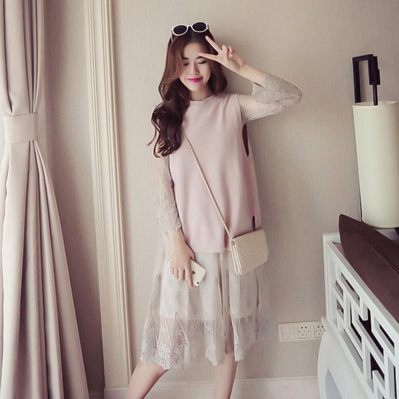 2017春装新款韩版时尚蕾丝马甲开叉两件套碎花压折雪纺打底连衣裙