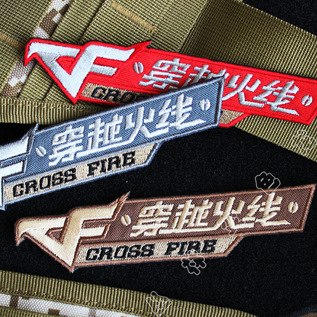 CF through the fire line embroidery logo armband Velcro badge logo chest  paste backpack stickers