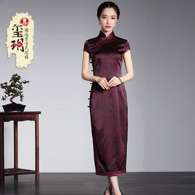 璽玥2018夏季新款重工重磅真絲手工長款旗袍 中式復古禮服連衣裙