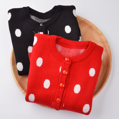 Michelle deer children's clothing spring 2017 new girl Korean version of the wave-point sweater polka dot knit cardigan jacket