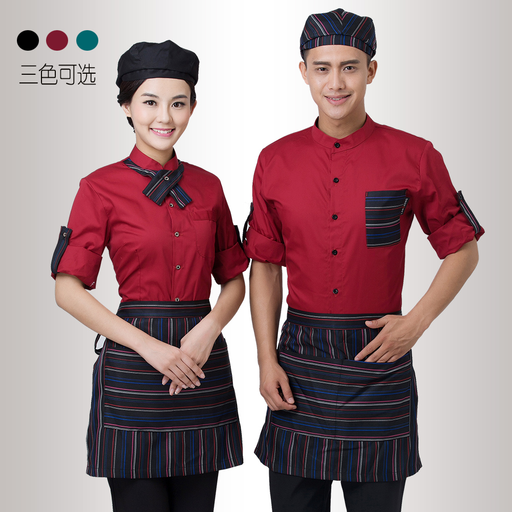 caf362db99b Hotel waiter uniforms long-sleeved hotel uniforms autumn and winter loaded  female fast food restaurant cafe uniforms