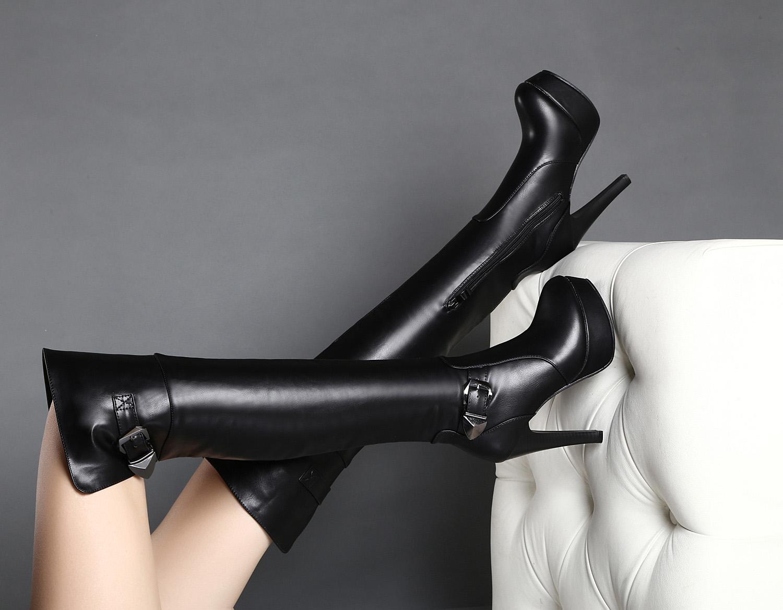 2015秋冬新款真皮女式高跟过膝靴长靴细跟防水台长筒靴女磨砂靴子