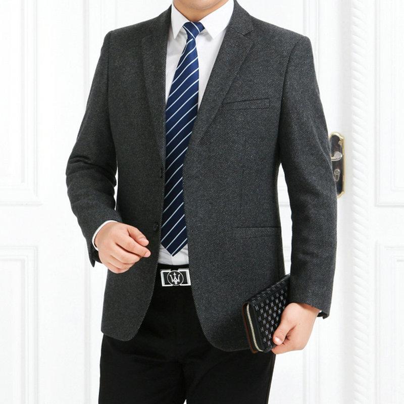 秋冬西服男装韩版西装英伦休闲西服宽松中年大码格子羊毛呢外套