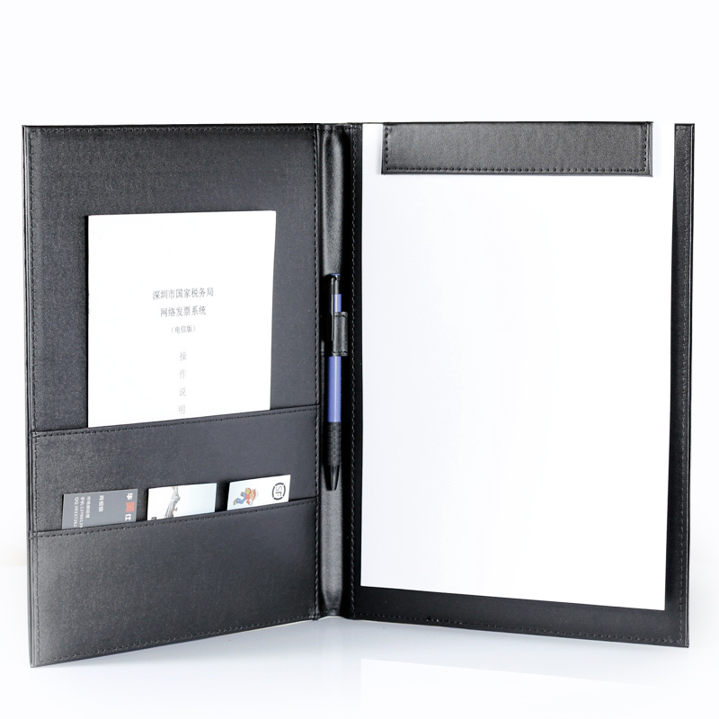 Leather Office Supplies Meeting Folder WordPad Simple Leather Hotel Service  Guide Can Be Customized Company Logo