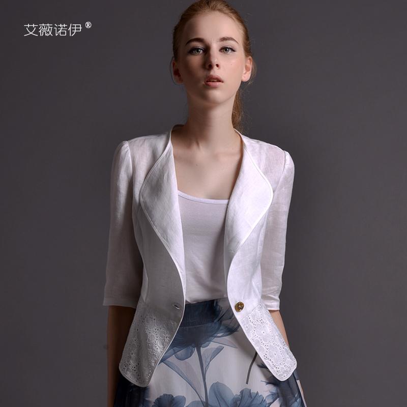 艾薇诺伊2019新款春夏亚麻小西装西服女薄款修身v亚麻百搭外套
