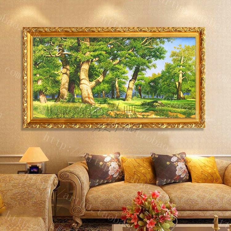 纯手绘客厅装饰画安格尔人体油画 世界名画有框画玄关卧室挂画 泉图片