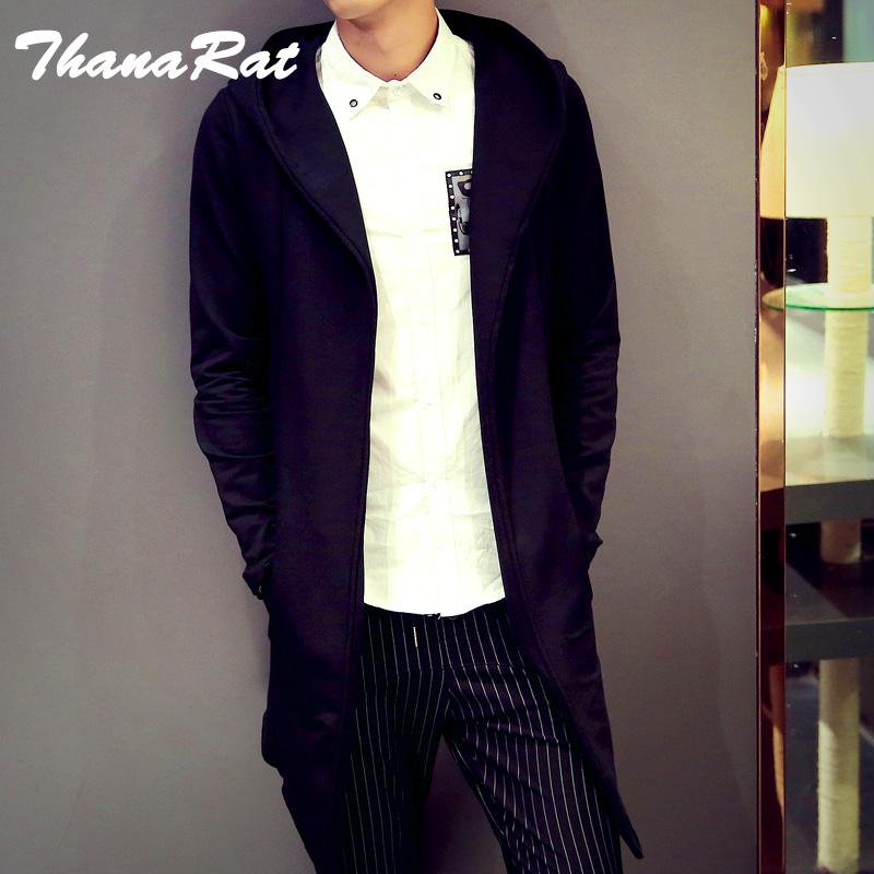 秋冬新款风衣男士中长款韩版青年修身印花外套日系复古翻领大衣潮