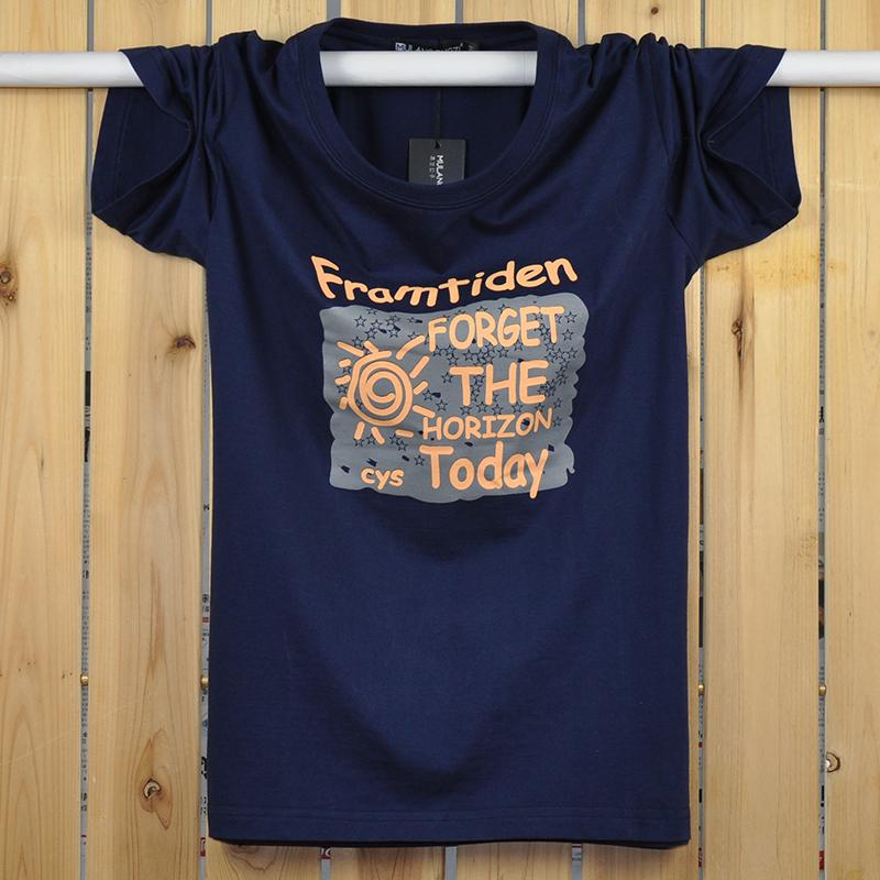 Mùa hè nam in cotton ngắn tay T-Shirt cộng với phân bón XL vòng cổ áo sơ mi lỏng thể thao chất béo nửa tay áo sơ mi