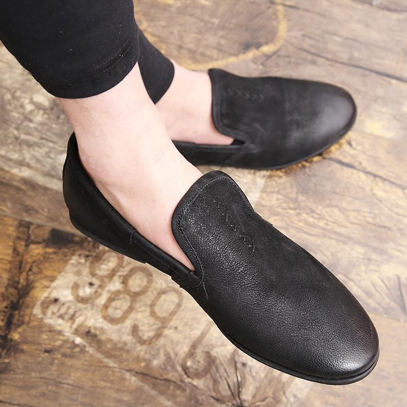 夏季新款乐福鞋男鞋真皮鞋男白鞋懒人蹬休闲豆豆潮鞋一脚套男板鞋