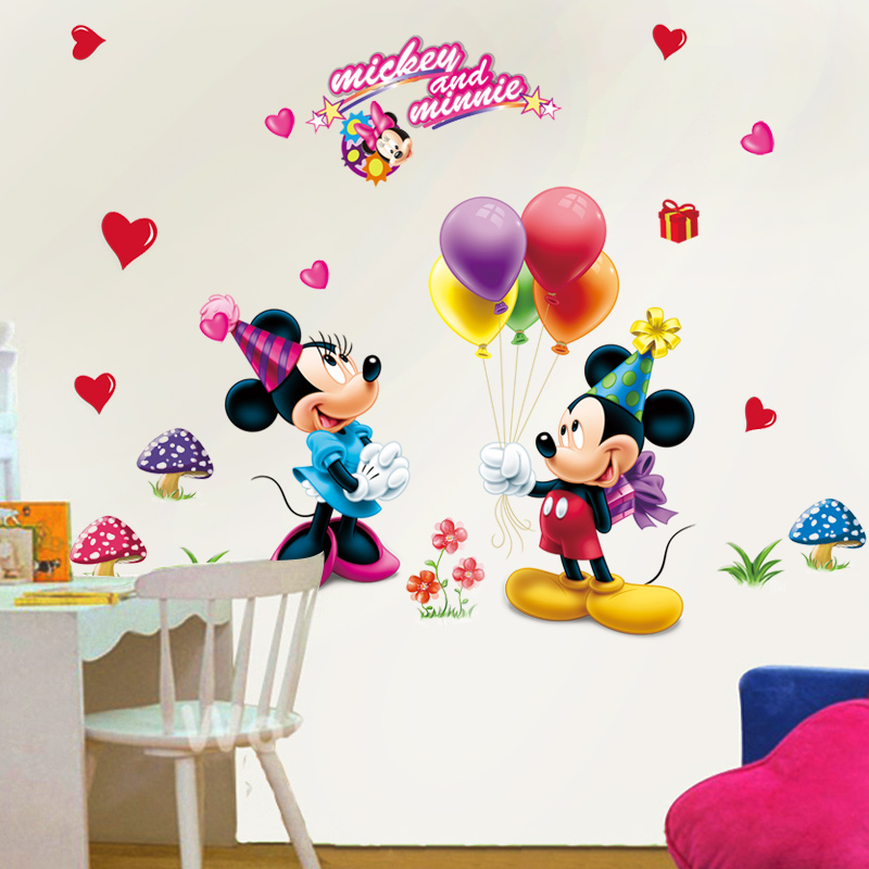 USD 10.40] Mickey Minnie Donald Mickey Mouse Wall Sticker removable ...
