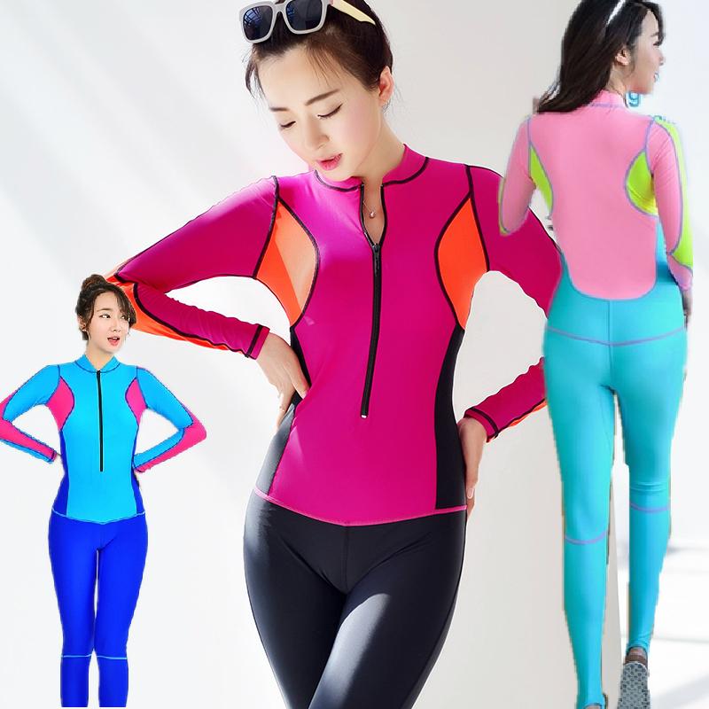 新款2MM潜水服女加厚保暖冬泳长袖分体上衣泳衣浮潜水母服冲浪衣