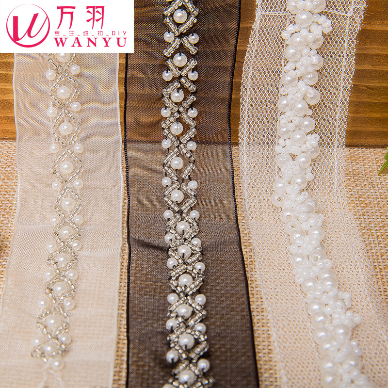 Black handmade beading white lace hand-stitched Rhinestone diy beading dress  skirt clothing neckline curtain cfca60aa8f6a