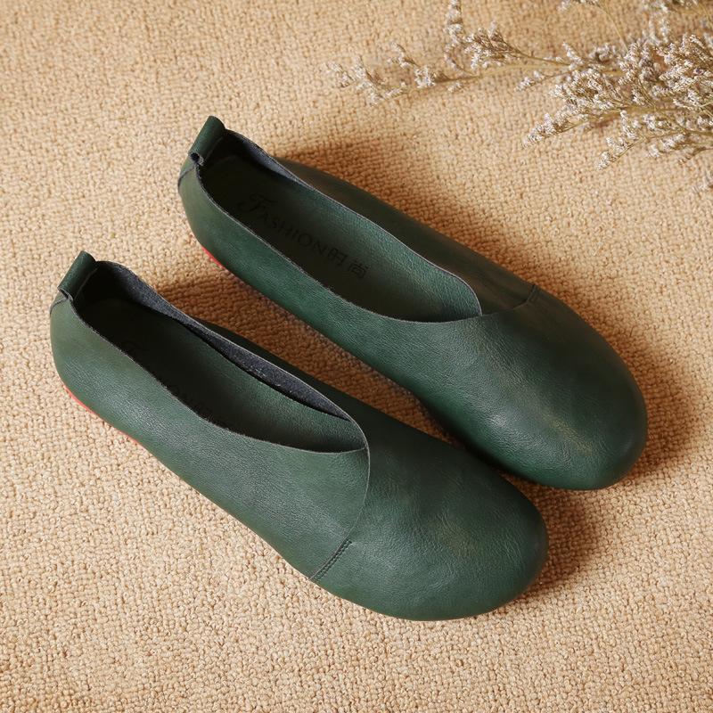 春秋新款原创复古文艺手工孕妇森系女鞋平底软底圆头浅口单鞋鞋女