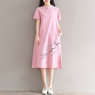 2017 summer new plate deduction ladies Chinese style Tang suit Zen short sleeve print dress a word skirt