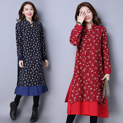 National wind women's autumn and winter Chinese style printing retro Chinese long skirt Han Chinese women's dress cotton and linen Chinese dress