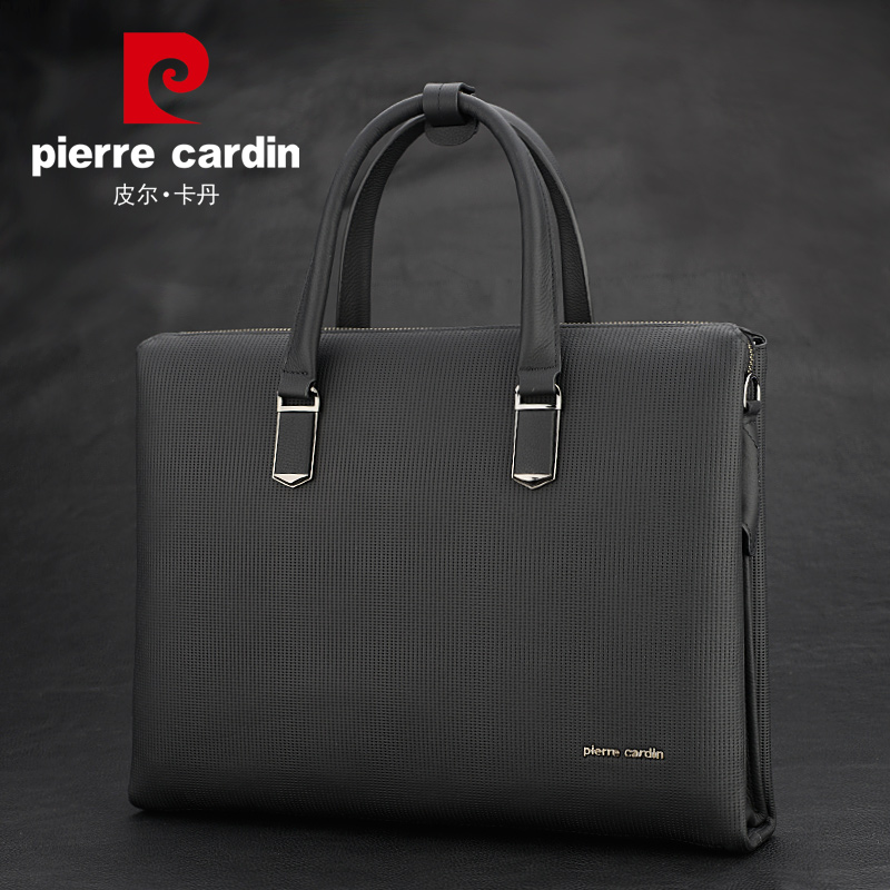 Pierre Cardin first layer of leather handbag fashion cross-section leather  briefcase authentic men s bag b6da31a2d5e79