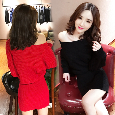 chic sweater womens autumn new word sling shoulder was thin bat sleeves hip winter knit dress