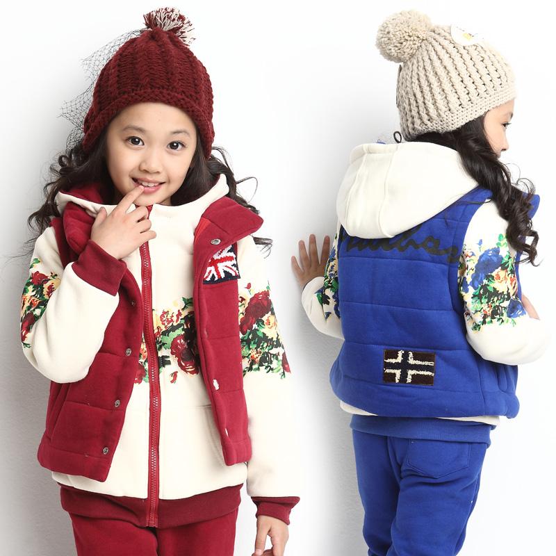 童装女童冬装套装2015男童冬季运动儿童羽绒服大童三件套加厚加绒