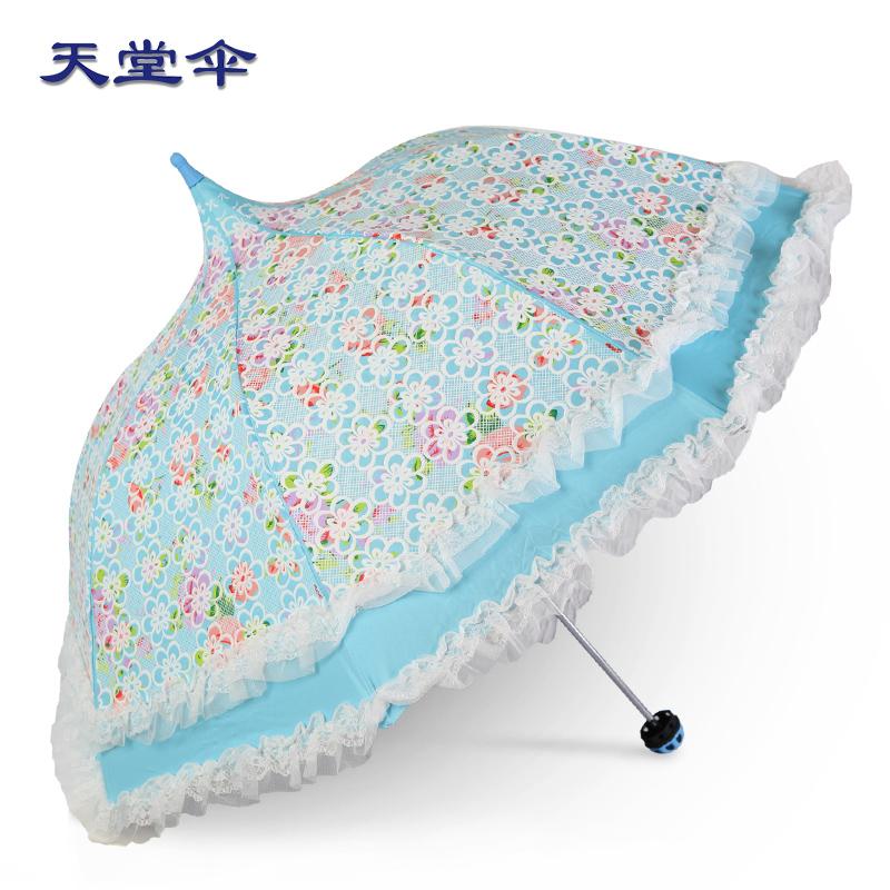 韩国蕾丝创意折叠遮阳伞两用清新防紫外线黑胶防晒公主伞晴雨伞女