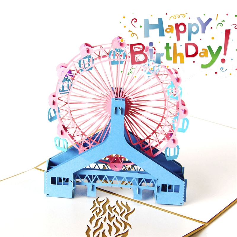 Printing Ferris Wheel Greeting Card Color Dream Big Gold Pink Blue Purple