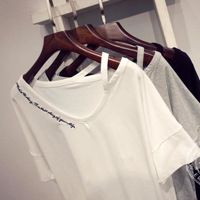 2016夏装新款大码女装性感个性斜露肩吊带上衣服宽松甜美短袖T恤