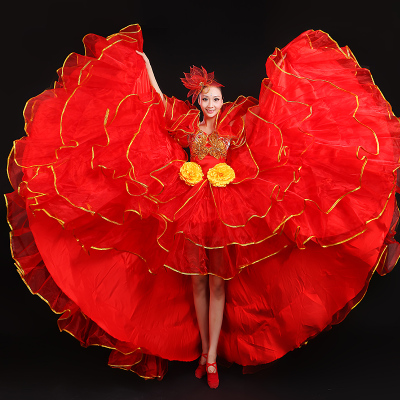 Chinese Folk Dance Costumes Big dress performance clothes stage Dress Dance new fashion opening dance fashion square long Female Nationality