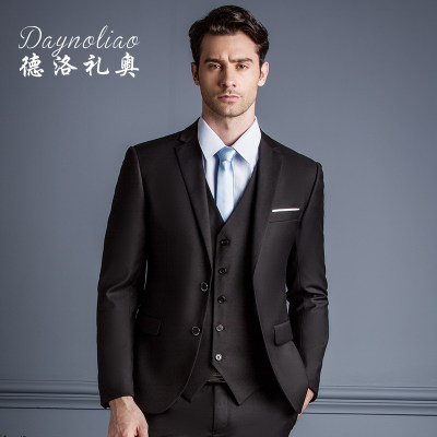 Suit suit male three-piece business slim suit dress groom wedding suit gentleman British gift spring and autumn